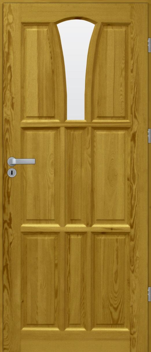 Drzwi sosnowe wewnętrzne DELTA świetlik 1szyba