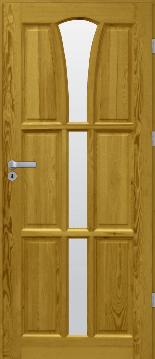 Drzwi sosnowe wewnętrzne DELTA świetlik 3szyby