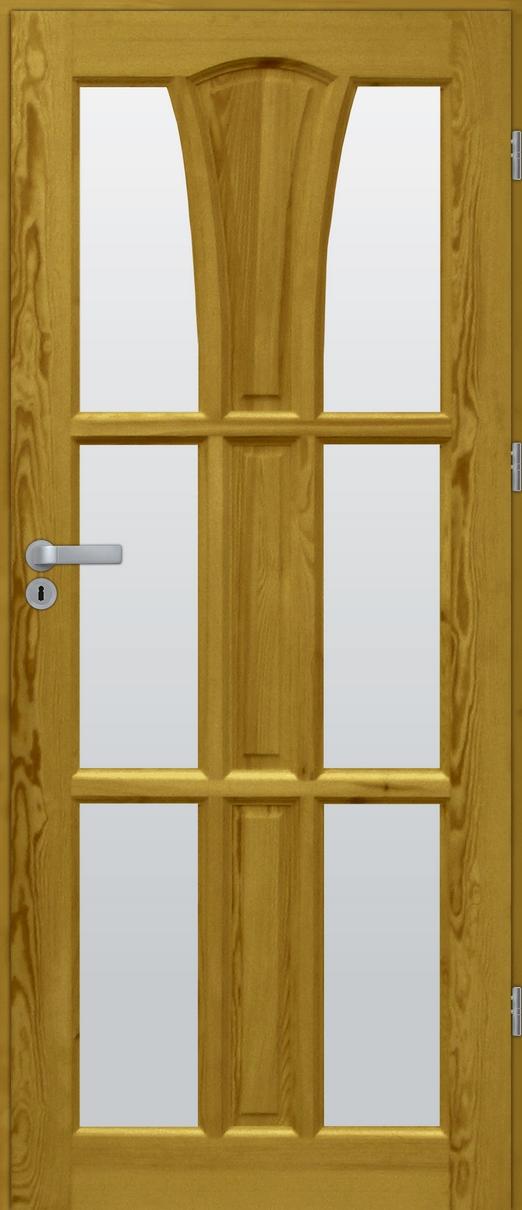 Drzwi sosnowe wewnętrzne DELTA świetlik 6szyb